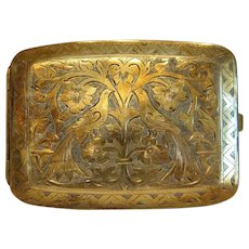 Antique brass cigarette case, 19th century
