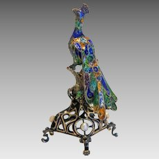 Antique peacock figure,enamel and silver, 19th century