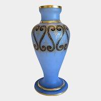 Art Nouveau blue opaline glass vase, ca. 1910