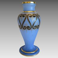 Art Nouveau blue opaline glass vase, ca. 1910