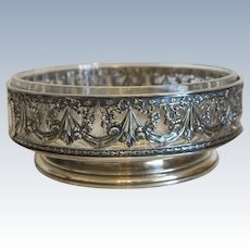 Antique silver bowl with lead crystal liner, ca. 1880