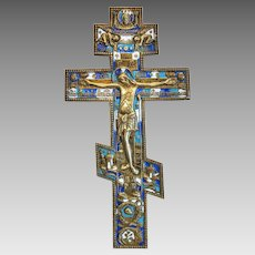 Antique Russian crucifix, enamel and gilt metal, 19th century