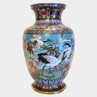 Chinese Cloissone vase with cranes and flowers, turn of the 20th century