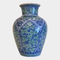 Vintage Chinese royal blue porcelain vase, mid 20th century