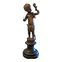 Antique Bronze figure of a little boy, 19th century