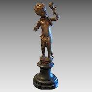 Antique Bronze figure of a little boy, 19th century