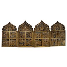Antique Russian traveling Icon with blue enamel, 19th century
