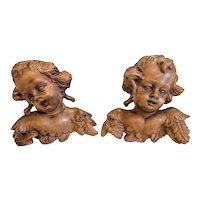 Vintage lime wood  winged Cherubs,hand carved,  early 20th century
