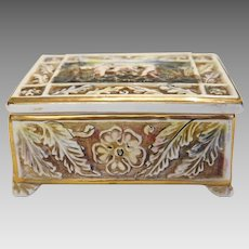 Capodimonte  porcelain box  , signed, early 20th century