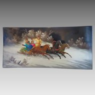 Fedoskino Russian Lacquer painting, signed and dated, 20th century