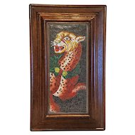 Vintage Mosaic plaque depicting a leopard, 20th century