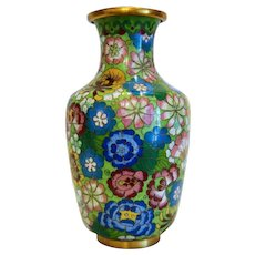 Vintage Chinese hand painted cloissone vase, early 20th century