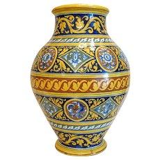 Antique Italian Majolica vase,hand painted, 19th century