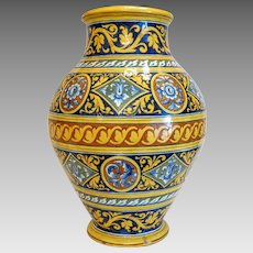 Antique Italian Majolica vase,hand painted, 19th century