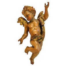 Vintage  hand carved angel figure, Italy early 20th century