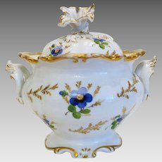 Vintage hand painted sugar bowl, Germany, ca. 1920