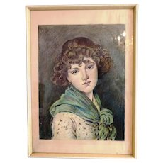 Antique  drawing of a young woman wearing a green scarf, ca. 1900