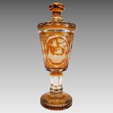 Antique Bohemian lead crystal urn, 19th century