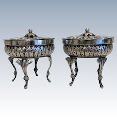 Empire silver salt cellars , hallmarked and maker´s mark, early 19th century