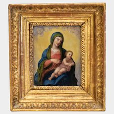 Antique painting of the Holy Virgin, oil on copper, 18th century