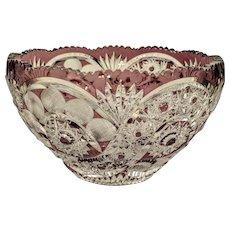 Bohemian purple lead crystal glass bowl, ca. 1920