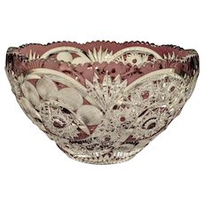Bohemian purple lead crystal glass bowl, ca. 1920
