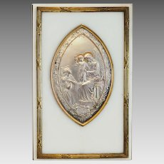 Antique French silver plaque on white marble, ca. 1850
