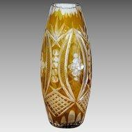 Vintage Bohemian Amber crystal glass vase, ca. 1930