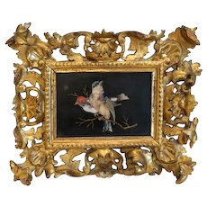 Antique Pietra Dura plaque in a gilt wood frame, 19th century