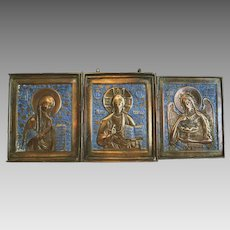 Antique Russian Tryptich, blue enamel, 19th century