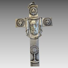 Antique pectoral cross pendant, silver plated, signed Penin Poncet