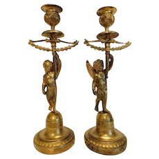 Empire gilt Bronze candlesticks, first half 19th century