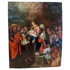 Antique painting depicting the Adoration of the Magi, oil on copper, 17th century