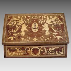 Antique wooden box, hand crafted, 19th century
