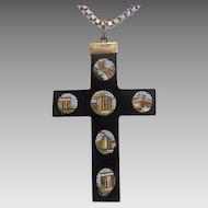 Antique Roman Micro Mosaic cross pendant, 19th century