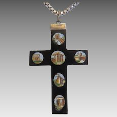 Antique Roman Micro Mosaic cross pendant, 19th century