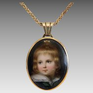Antique Miniature portrait, oil on porcelain, 19th century