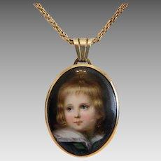 Antique Miniature portrait, oil on porcelain, 19th century