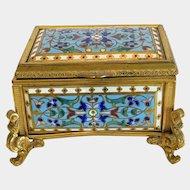 Antique enamel casket, gilt bronze, 19th century