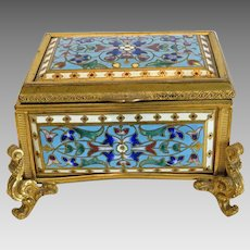 Antique enamel casket, gilt bronze, 19th century