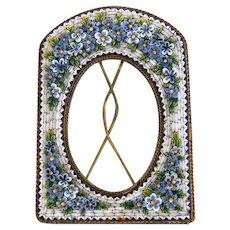 Antique flower Micro Mosaic frame, gilt metal, 19th century