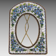 Antique flower Micro Mosaic frame, gilt metal, 19th century