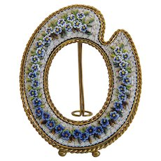 Antique blue and white Micro Mosaic frame, 19th century