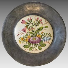Antique Italian wall plate, tin holder, 19th century
