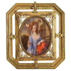 Antique miniature, oil on copper, 19th century