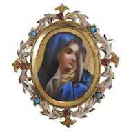 Antique Miniature depicting the Holy Virgin, 19th century