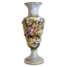 Antique Capodimonte vase, hand painted, ca. 1900