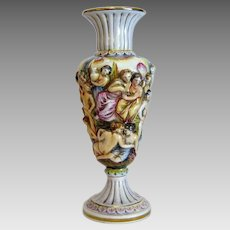 Antique Capodimonte vase, hand painted, ca. 1900