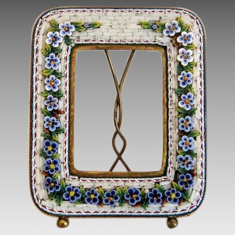 Antique Micro Mosaic flower frame, Italy 19th century