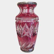 Antique Cranberry lead crystal vase, ca. 1900